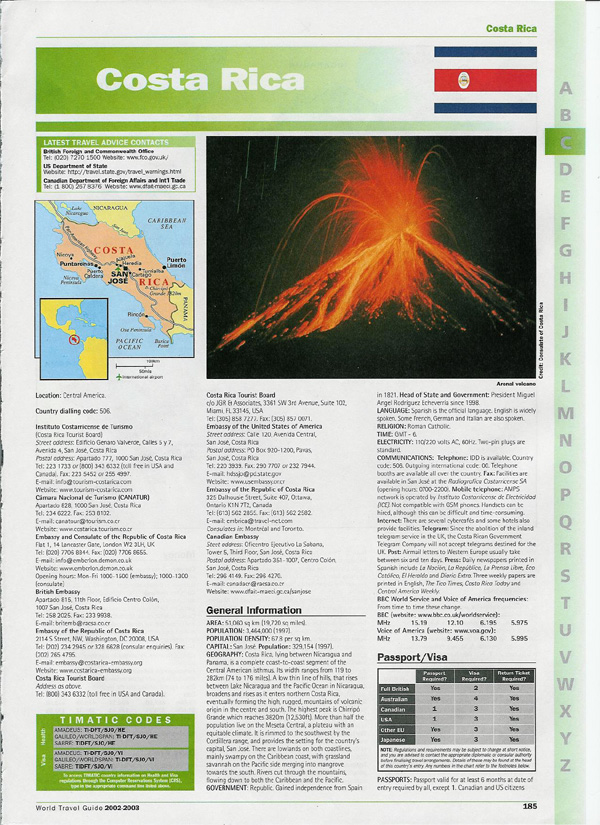 World Travel Guide detailed page for Costa Rica